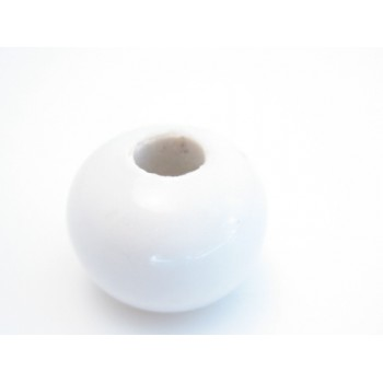 Stor keramik perle hvid 15 / 5 mm