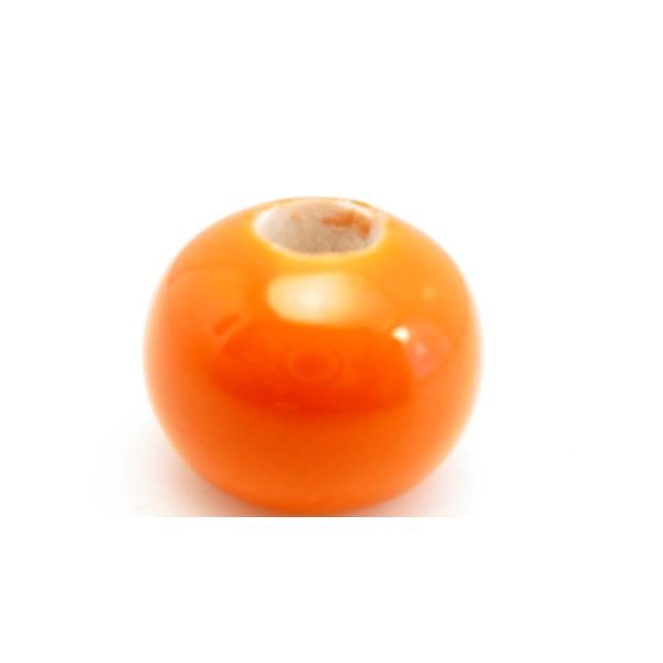 Kæmpe keramik perle 22 x 12 / 6 mm Orange