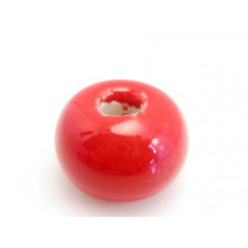 Kæmpe keramik perle 22 x 12 / 6 mm Rød