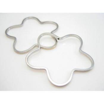 Blomster ring 30 mm sølv pl. - 10 stk