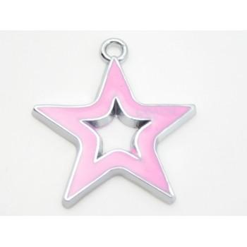 Stjerne med rosa emalje 29 mm