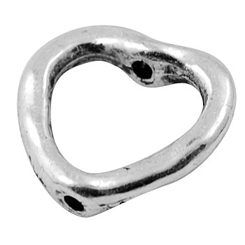 Flotte hjerter sølv belagt 14 mm - 2 STK