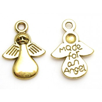 "Engel guld 14 mm  ""made for an angel"" - 2 stk"