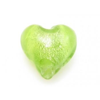 Glas hjerter folierede æble grøn  12/2 mm - 2 stk