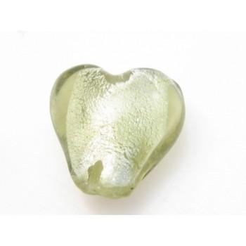 Glas hjerter folierede champagne 12/2 mm - 2 stk