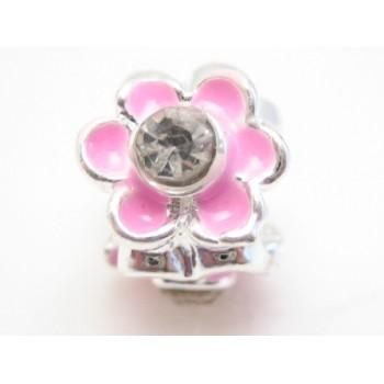 Rosa blomster led med klar sten