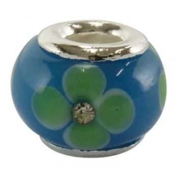 Blå grøn glas led med klar sten