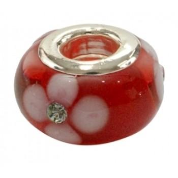 Glas led  i rød med lille sten