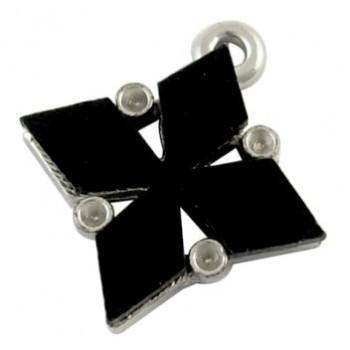 Vedhæng med sort glas 22  mm - HOT