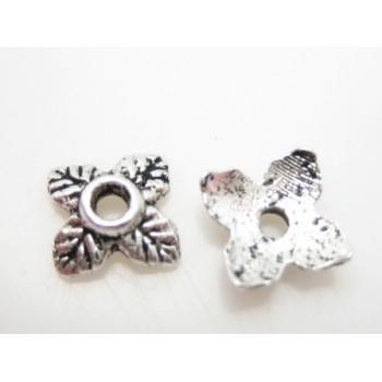 Endekap i sølv look blad 6mm - 6 stk