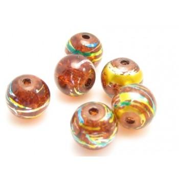 Glas perler brun  8 / 1 mm - 20 stk