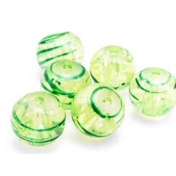 Glas perler grøn 8 / 1 mm - 20 stk