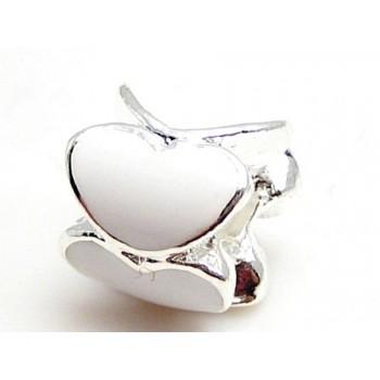 Smukt sølv led med hvide hjerter