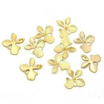 Guld belagt mat vedhæng / evt ørering -  1 stk