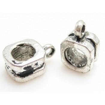 Vedhængsperle i tibet sølv - 2 stk