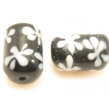 Håndlavet perle med motiv 12 / 2 mm - 2 stk