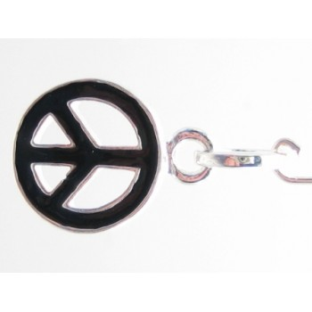 Peace tegn med sort emalje 28 mm