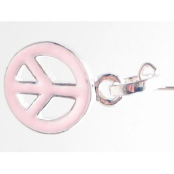Peace tegn med rosa emalje 28 mm