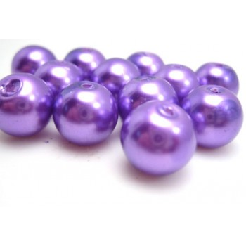 Voks glas perler 10 mm lilla  -  25 stk