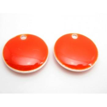 Emalje vedhæng rund 12 mm orange - rød  - 2 stk