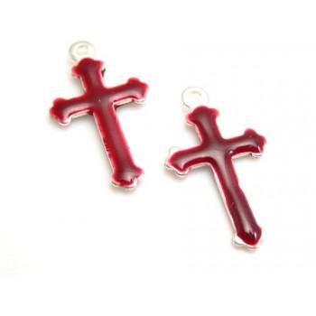 Emalje kors 15 x 9 bordeaux - 2 stk