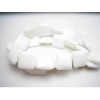 Porcelæns perle firkantet flad 14 / 1 mm - 1 streng