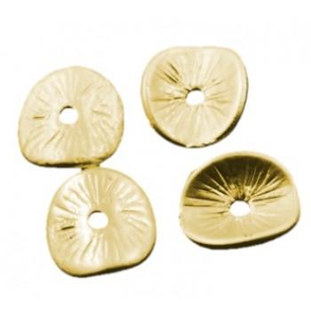 Chips antik guld 9,5 mm - 4 stk
