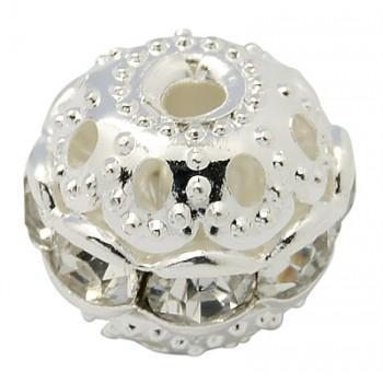 Sølv rhinstens kugle klare stene 10 mm - 2 stk
