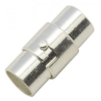 Bajonet magnet lås m/ enderør sølv belagt 4 mm ind hul