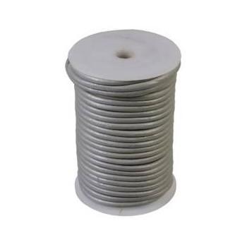 Læder snøre 1 mm  metallic sølv - 1m