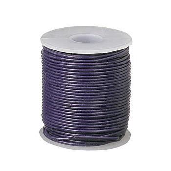 Læder snøre 1 mm  metallic mørk lilla - 1m