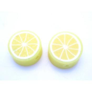 Ler / Fimo citrus frugter gule   10 mm - 2 stk