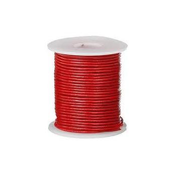 Læder snøre 2 mm metallic - rød - 1m