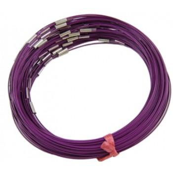 Wire halskæde lilla 44 cm med  lås