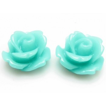 Resin rose lys turkis 11 mm - 2 stk