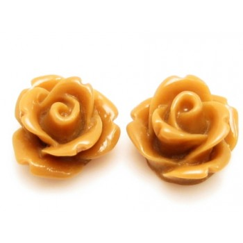 Resin rose brun 11 mm - 2 stk