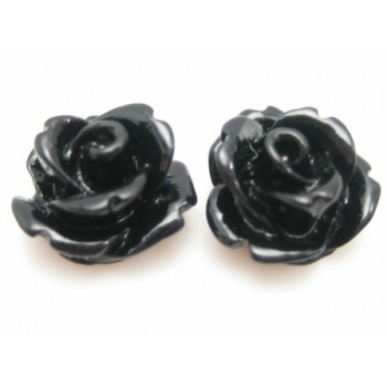 Resin rose sort 11 mm - 2 stk