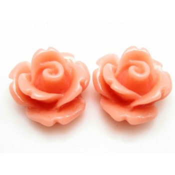 Resin rose lys fersken 11 mm - 2 stk