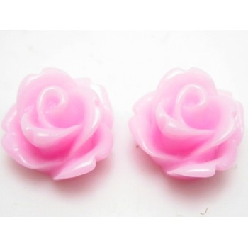 Resin rose rosa 11 mm - 2 stk