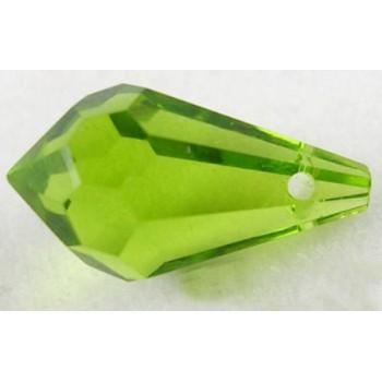 Facet dråbe grøn  tværboret 14 mm - 2 stk