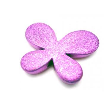 Sommerfugl børstet sølv pink 46 mm