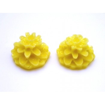 Mini resin blomster 10 mm - 2 stk Gul