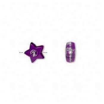 Stjerne perle lilla 8 /1 mm - 10 stk
