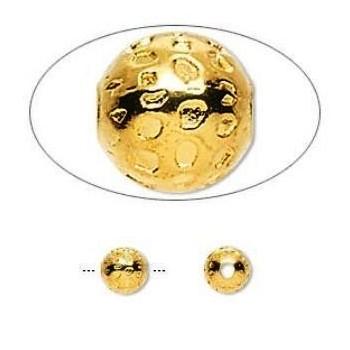 Guldbelagt perle 6 mm - 3 stk