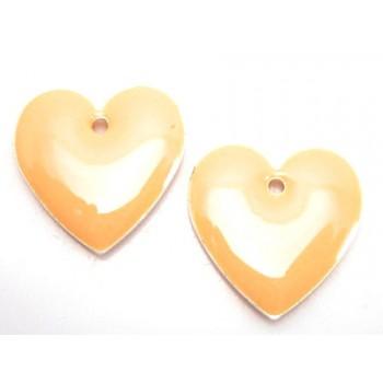 Emalje hjerte 16 mm - HUD  - 2 stk