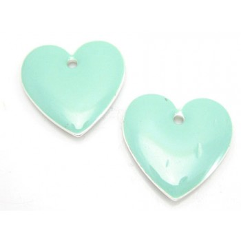 Emalje hjerte 16 mm -  - 2 stk