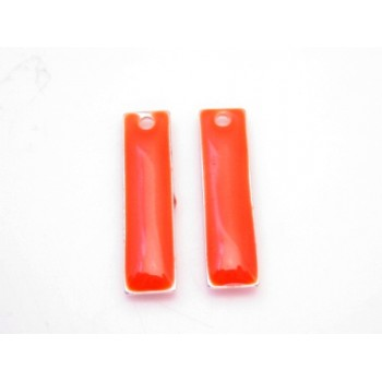 Emalje vedhæng lang  Orange - Rød 20 x 6 - 2 stk