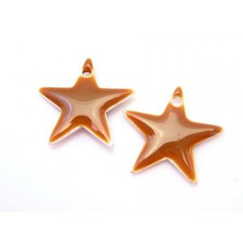 Emalje stjerne 12 mm - BRUN - 2 stk
