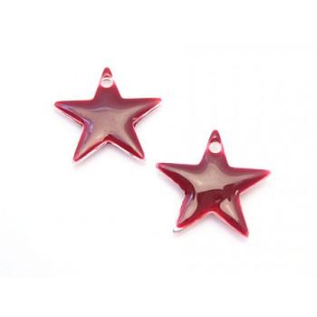 Emalje stjerne 12 mm - BORDEAUX - 2 stk