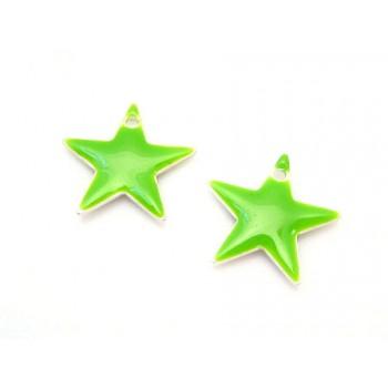 Emalje stjerne 12 mm - GRØN - 2 stk